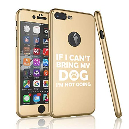 360° Full Body Thin Slim Hard Case Cover + Tempered Glass Screen Protector for Apple iPhone If I Can't Bring My Dog I'm Not Going Funny (Gold, for Apple iPhone 6 Plus / 6s