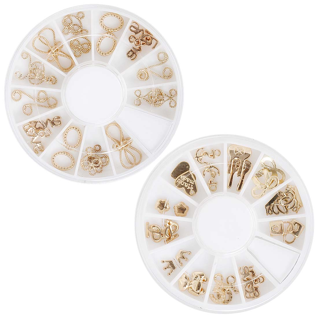 Maniology (formerly bmc) Super Cute 48pc Mixed 3D Gold Metal Frames and Charms Nail Polish Art Accessory 2 Wheel Set