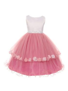 e1238c6a8 Product Image Girls Bubblegum White Floating Petal Overlaid Junior  Bridesmaid Dress