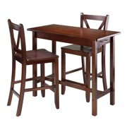 Winsome Trading 3 Piece Kitchen Island Table With V Back Stools