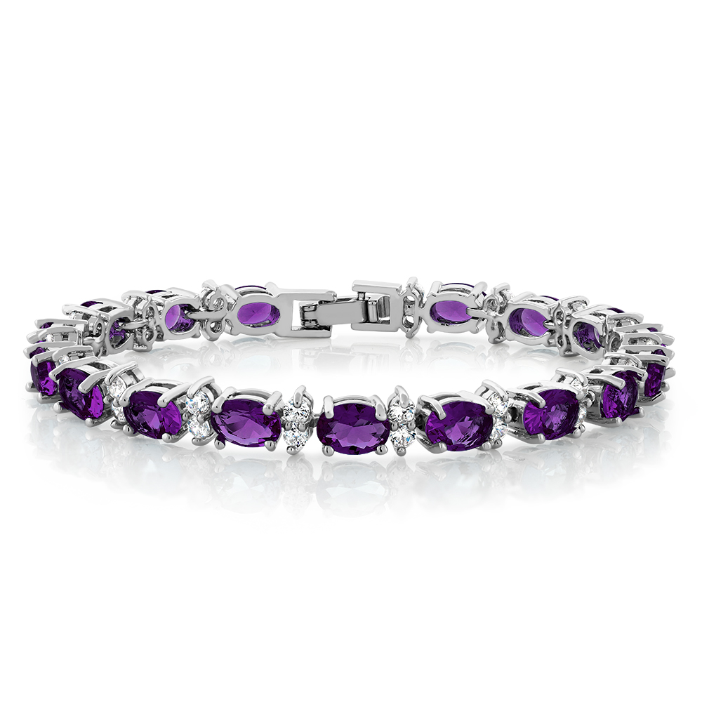 20.00 Ct Oval & Round Purple Color Cubic Zirconias CZ Tennis Bracelet 7""