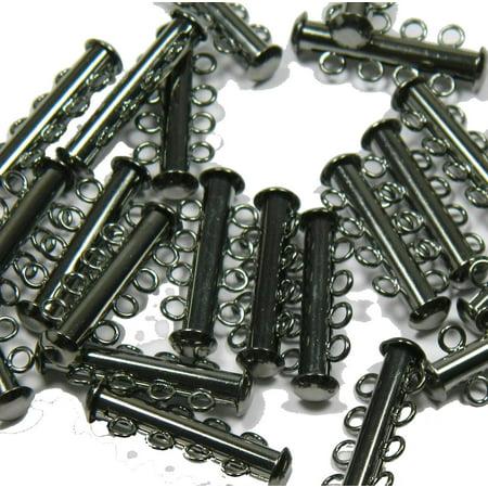 10 Pack Multi 4 Strand Slide Lock Clasps Gunmetal Black Oxide Plated Brass