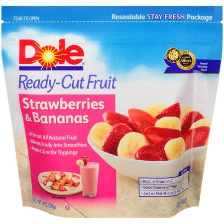 Dole Ready-Cut Fruit Strawberries & Bananas Frozen Fruit, 14 oz