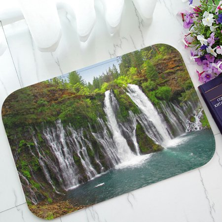 PHFZK Landscape Nature Scenery Doormat, Western Waterfalls in Green Forest Doormat Outdoors/Indoor Doormat Home Floor Mats Rugs Size 23.6x15.7 inches