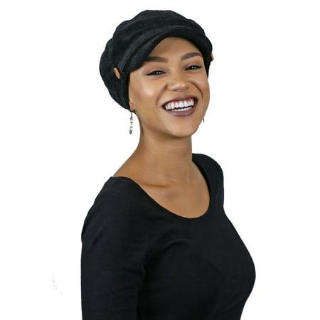 Newsboy Cap For Women Cancer Headwear Chemo Hat Ladies Head Coverings Tweed Corduroy (Black)