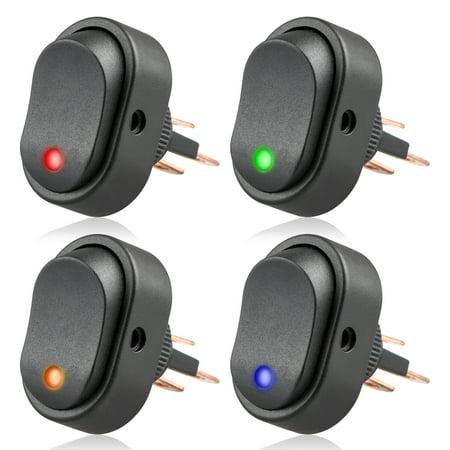 Car Toggle Switch, EEEKit 4-Pack DC 12V LED Illuminated Rocker Switch LED  Dot Light SPST Toggle Switch with Keyhole Slot For Car Auto Boat Marine