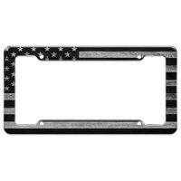 Rustic Subdued American Flag Wood Grain Design License Plate Tag Frame