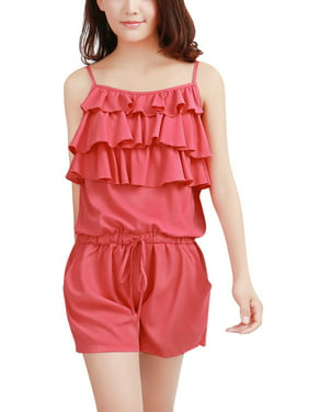 Green XS Green Ruffled Front Sleeveless Elastic Waist Romper for Women