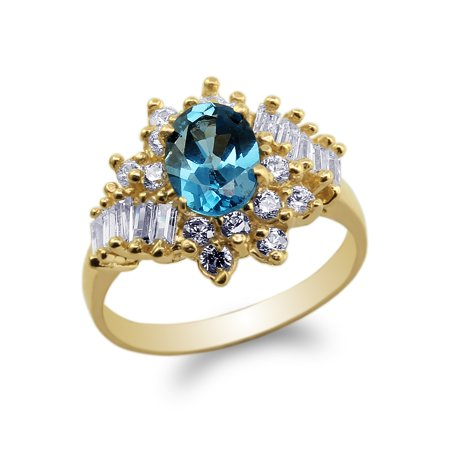 Yellow Gold Plated 1.25ct Oval CZ Blue Stylish Unique Band Ring Size 4-10