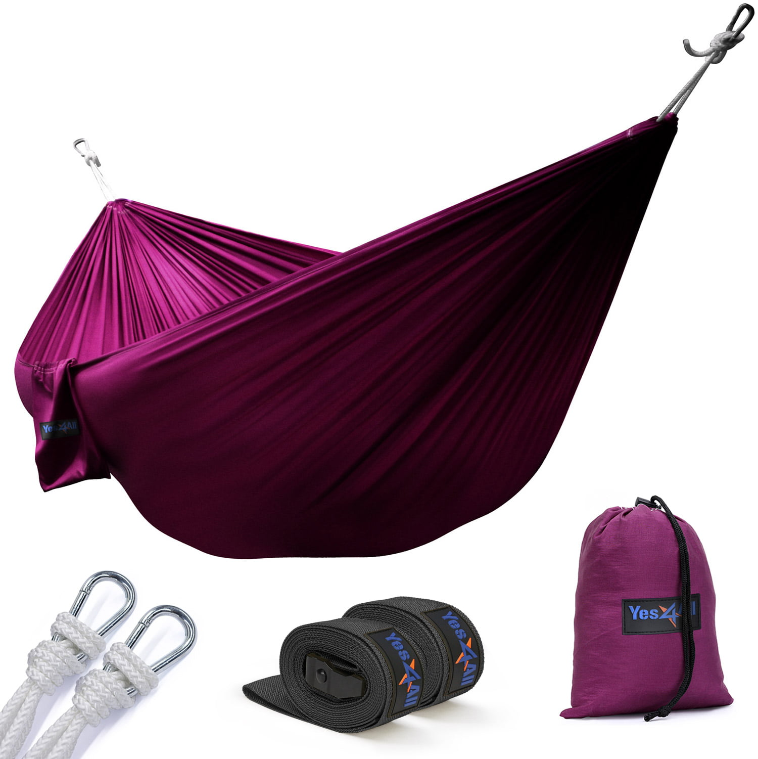 Yes4All Ultralight Portable Parachute Nylon Double Hammock With Tree Straps Carry Bag Included by Yes4All