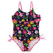 Pink Platinum Girls Swimwear Colorful Garden Flowers 1Pc Swimsuit with Ruffles