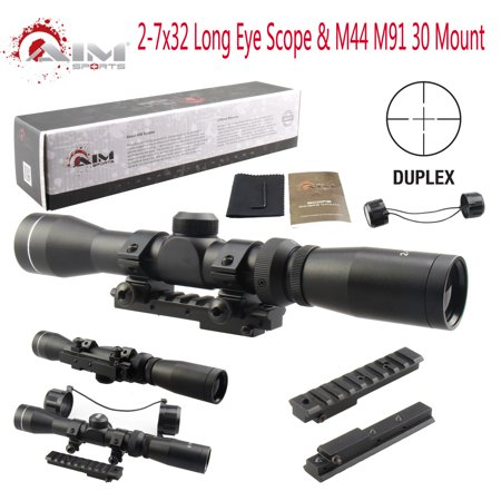 AIM Mosin Nagant 2-7x32 Long Eye Relief Scope + M44 M91 30 Scout Mount