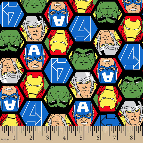 "Marvel Avengers, Avengers Faces, Flannel, Multi, 42/43"" Wide, Fabric by the Yard"
