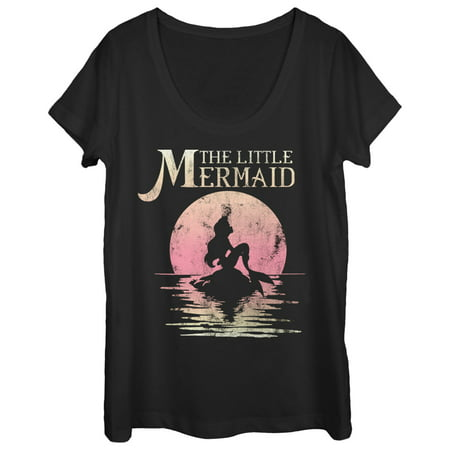 the little mermaid women's ariel sunset scoop neck - Little Mermaid Shirt Women's