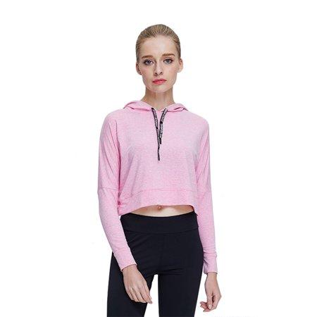 Casual Hoodies Pullover Jumper Loose Thin Hoody Blouse Sports Wear Back Cross Long Sleeve Short Crop Top