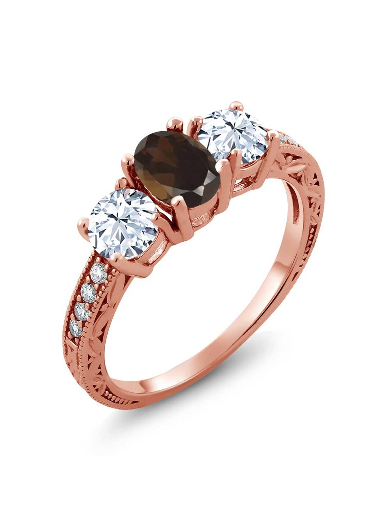 Gem Stone King 2.37 Ct Oval Brown Smoky Quartz 18K Rose Gold Plated Silver Ring