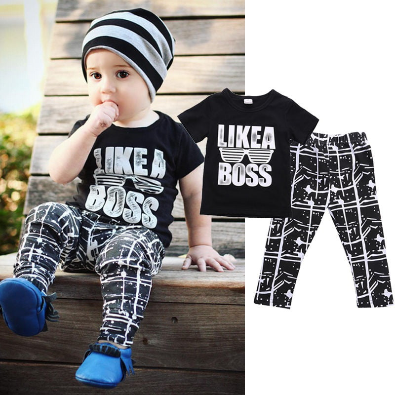 2PCS Kids baby boys Short sleeve shirt braces jeans outfits kid boys Clothing