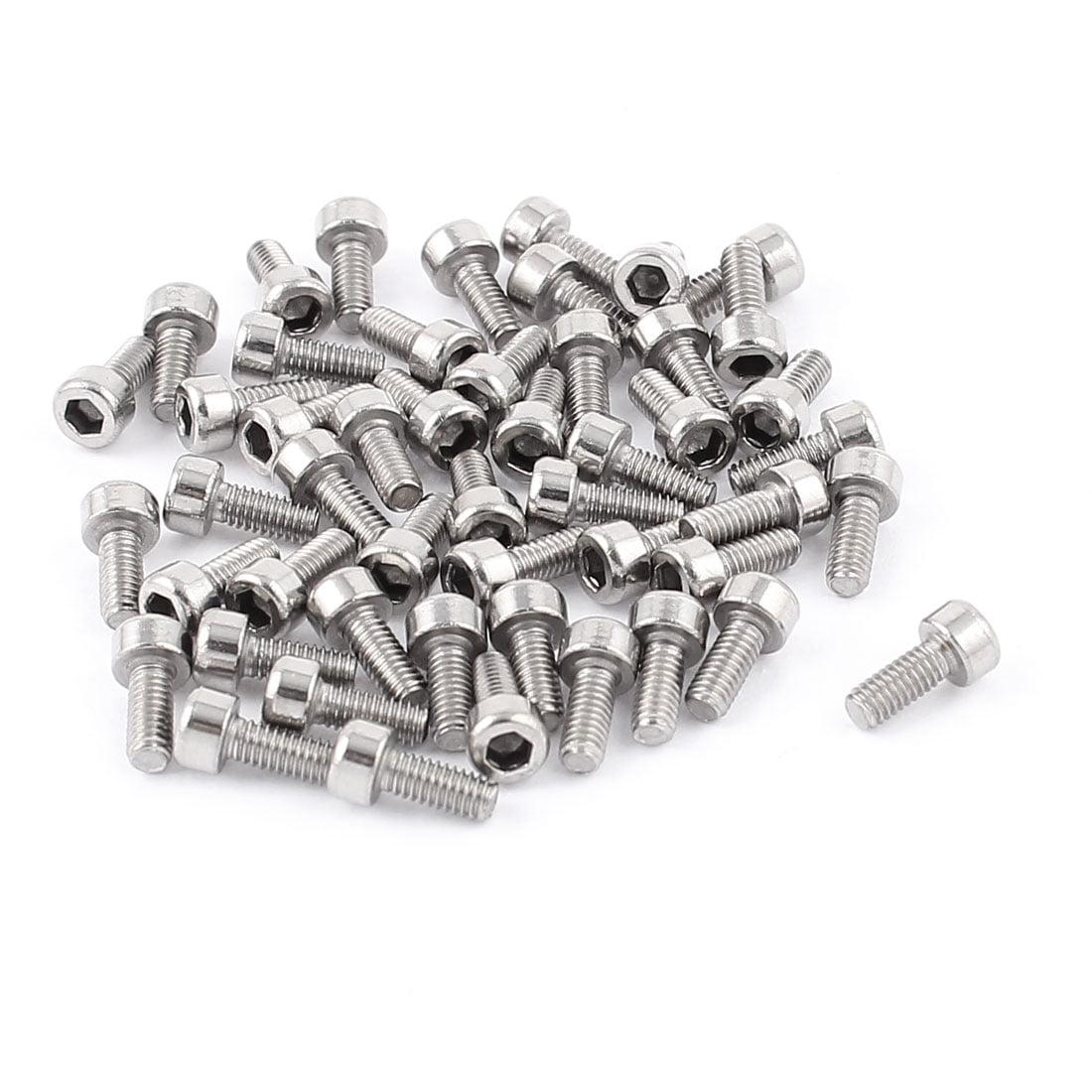 50 Pcs M2.5 x 6mm Metal Hex Socket Head Cap Screws Stainless Fully Thread - image 1 of 1