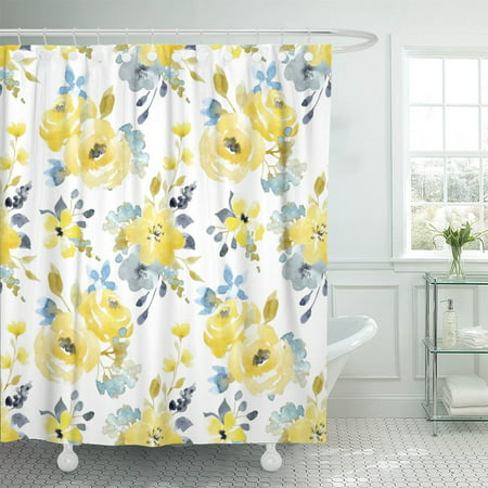 PKNMT Gray Watercolor Bright Summer Pattern Yellow and Blue Abstract Shower Curtain 60x72 inches - Blue And Yellow Curtains