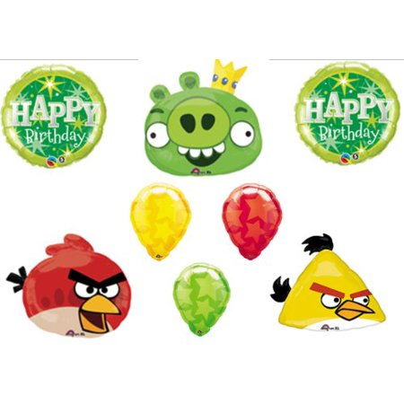 Angry Birds Pig and Red & Yellow Bird HAPPY Birthday Party Balloons Decorations Supplies by Anagram by Anagram