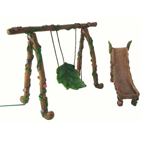 (Fairy and Gnome Miniature Swing and Slide Set - A Fairy Garden Accessory)