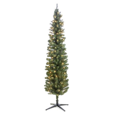 The Holiday Aisle Pre-Lit Pencil 7' Green Pine Trees Artificial Christmas  Tree with - The Holiday Aisle Pre-Lit Pencil 7' Green Pine Trees Artificial