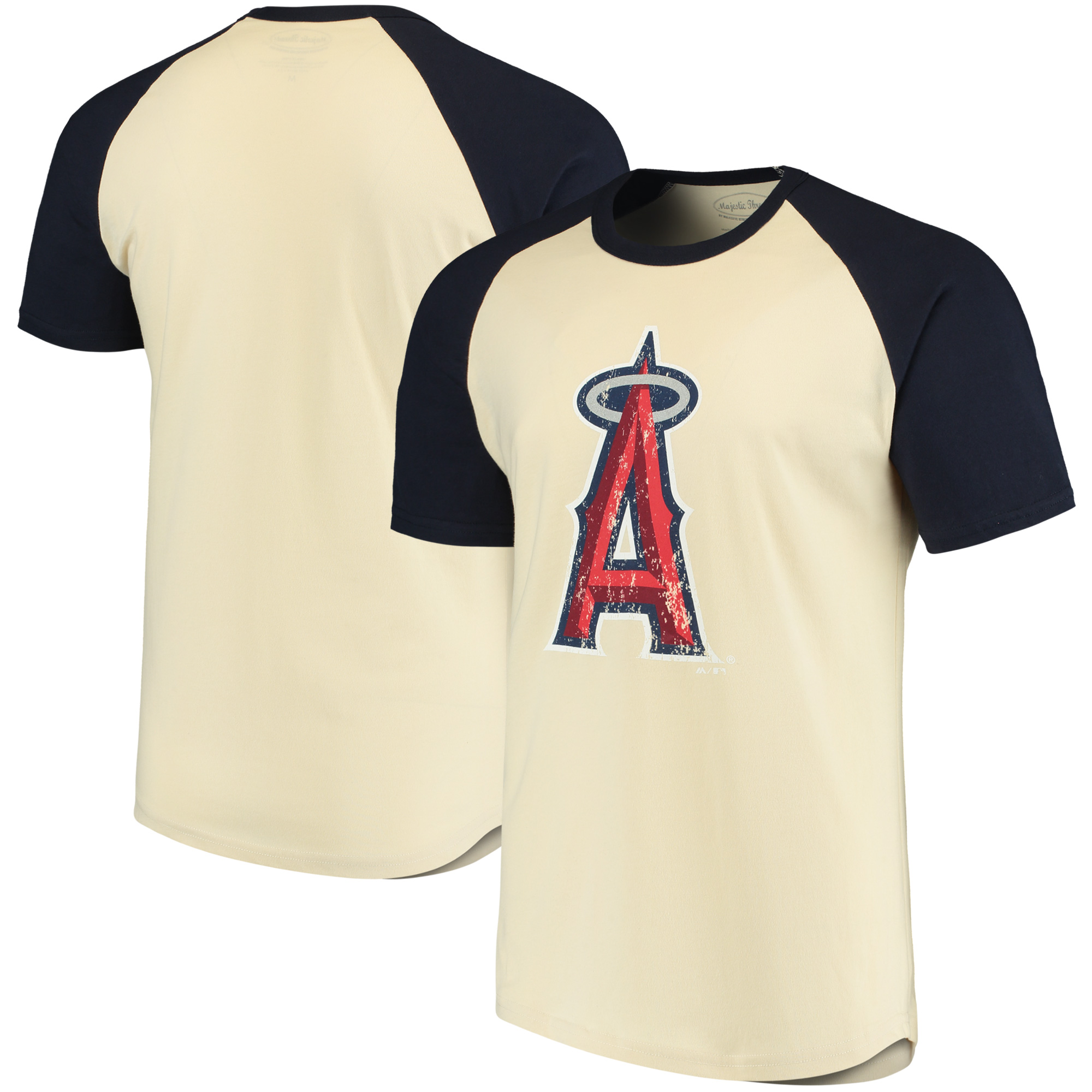 Los Angeles Angels Majestic Threads Softhand Raglan T-Shirt - Cream/Navy
