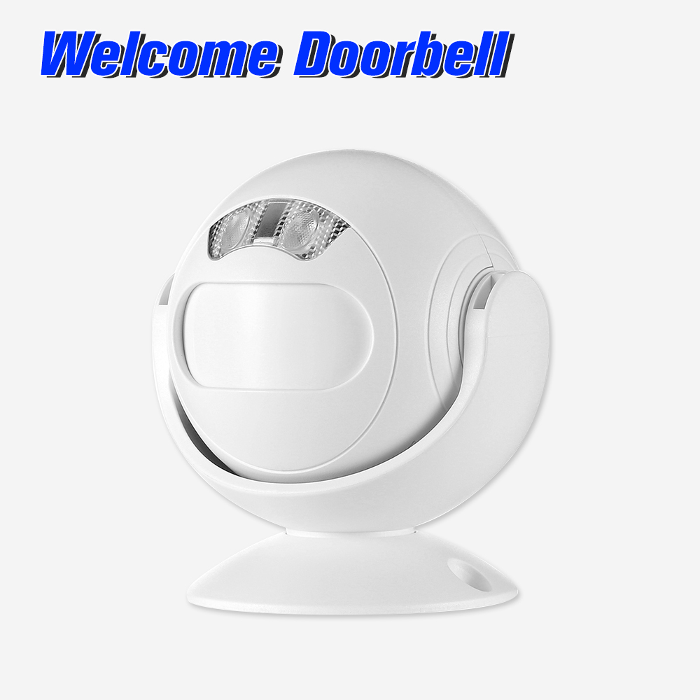 Motion Detector Welcome Doorbell 4-in-1 Welcome Doorbell Alarm PIR Motion Sensor Remote Control Home Security Driveway Alarm Store Entry Welcome for Home Villa Office Shop,White