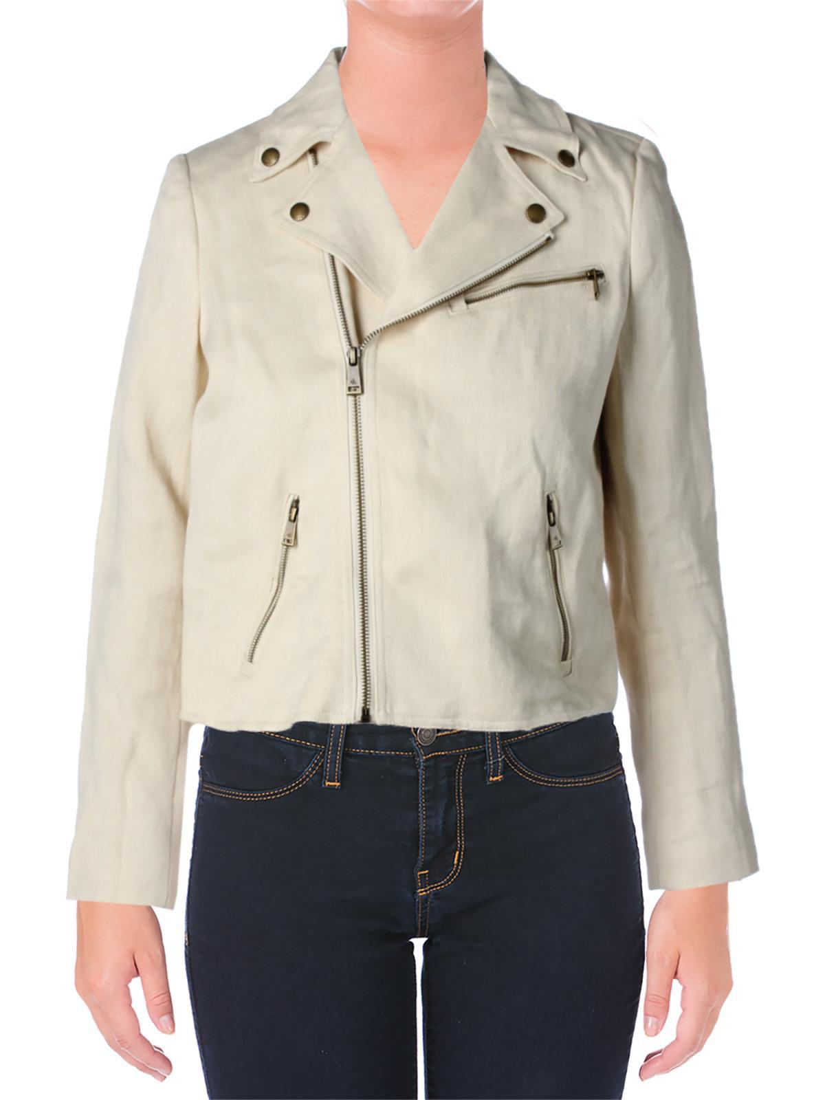 Lauren Ralph Lauren Womens Lined Linen Blend Basic Jacket