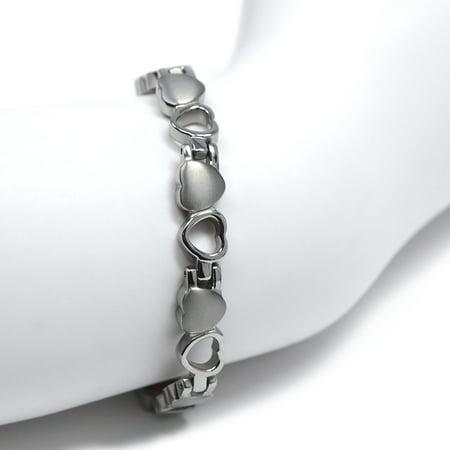 Titanium Womens Bracelets - Women 's Quad-Element Titanium Silver Heart Magnetic Bracelet with Satin Accents - 12,800 Gauss B185