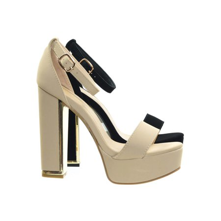 b0da21342c Bamboo - Inclined14 by Bamboo, Metal Trim Plated Block Heel Platform Dress  Sandal - Walmart.com