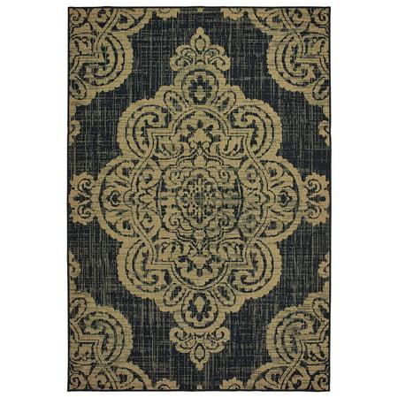 Moretti Parker Area Rugs - 5929K Transitional Black Scrolls Curves Ornate Petals Rug