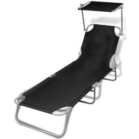 vidaXL Folding Sun Lounger with Canopy Steel and Fabric Black