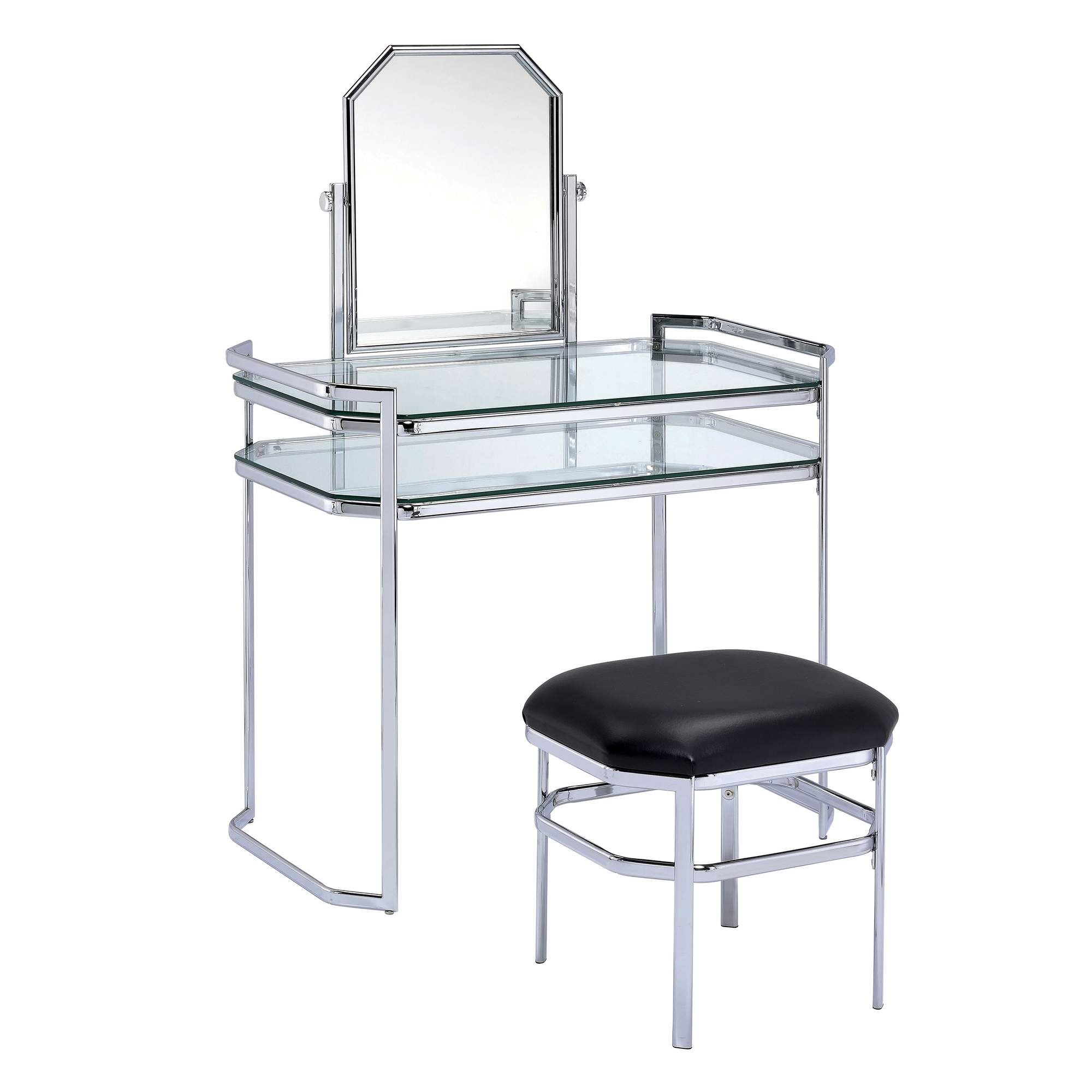 Furniture of America Ivey Contemporary Vanity and Stool Set, Multiple Colors