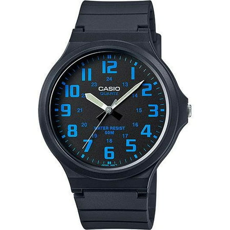 Men's Super-Easy Reader Watch, Black/Blue Dial, MW240-2BV - Mens Elegance Black Dial