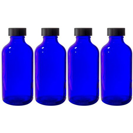 Cobalt Blue Glass Boston Round Bottle with Black Phenolic Cone Lined Cap - 4 oz (4 (Phenolic Bottle Cap)