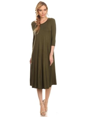 0d4d8d1f1db6c Product Image Women's 3/4 sleeves solid midi dress