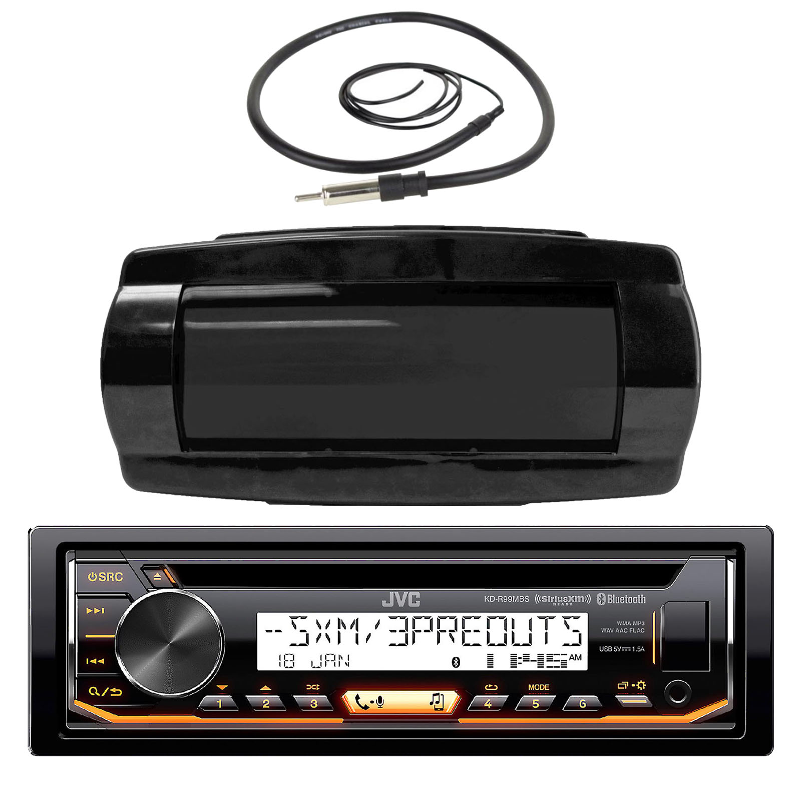 "JVC KD-R99MBS In-Dash Marine Boat Bluetooth Radio USB CD Receiver Bundle Combo With Jensen Marine RTR700 Black Water Resistant Housing + Enrock EKMR1 Water Resistant 22"" Inch Radio Antenna"