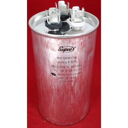 Dual Run Capacitor, Round, 45 + 5 Mfd., 440 Volt, (Wire Run Capacitor)