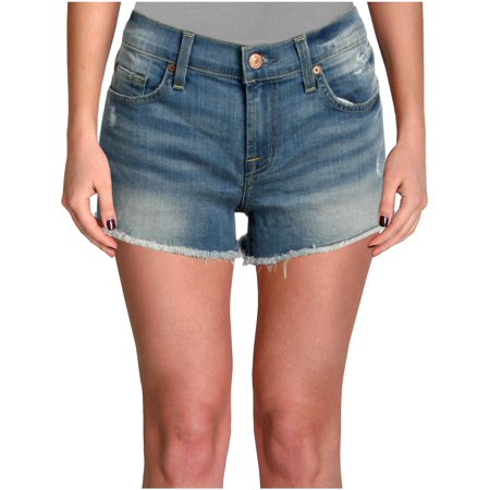 7 For All Mankind Womens Light Wash Distressed Denim Shorts Blue 24 7 For All Mankind Ginger