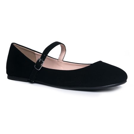 J. Adams Mary Jane Ballet Flat - Quilted Comfort Casual Shoe - Easy Everyday Velcro - Cheap Mary Janes