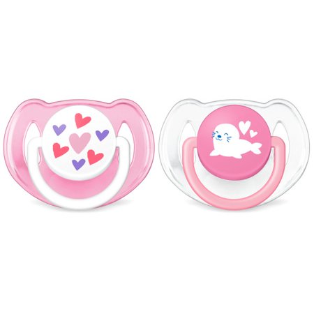 Pink Monkey Pacifier - Philips Avent Classic Walmart Deco Pacifier 6-18m, pink hearts and seal, 2 pack, SCF197/07