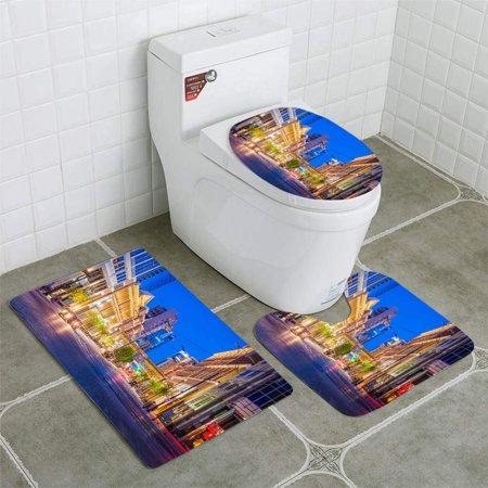 GOHAO Main St Stores Banks Illuminated Salt Lake City Utah USA 3 Piece Bathroom Rugs Set Bath Rug Contour Mat and Toilet Lid Cover