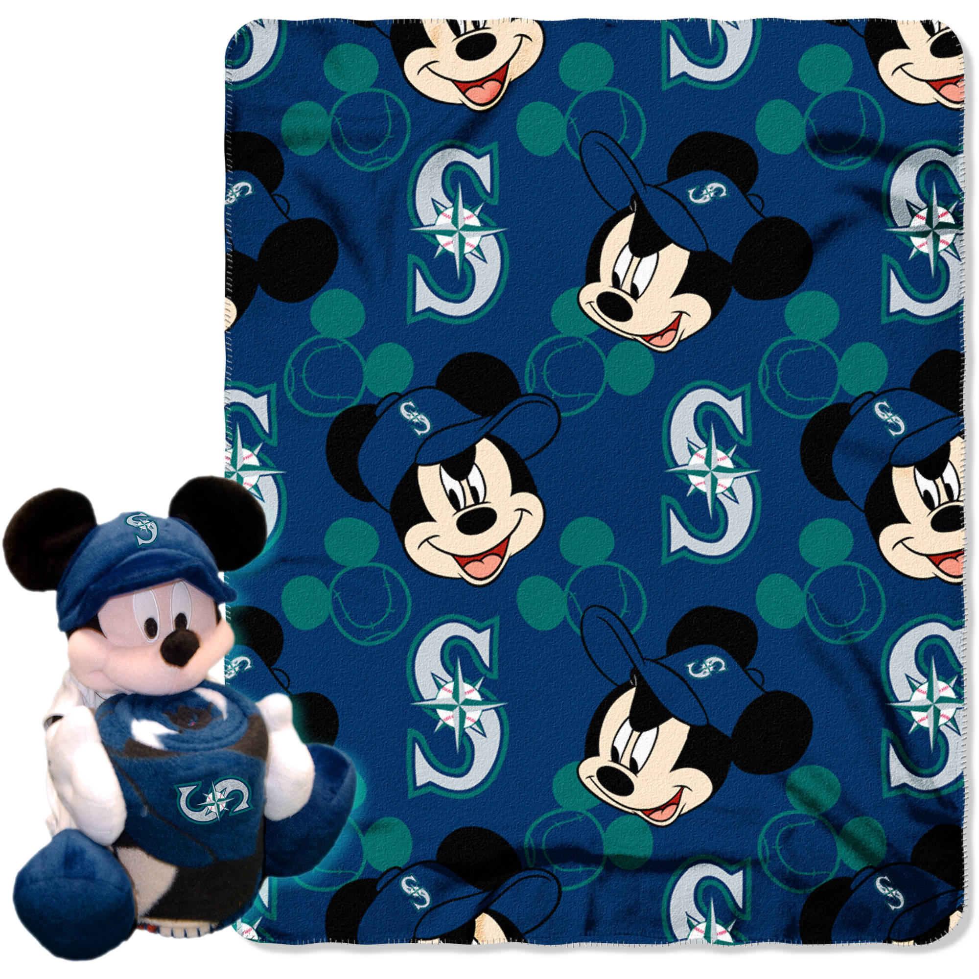 "Official MLB and Disney Cobrand Seattle Mariners ""Pitch Crazy"" Mickey Mouse Hugger Character Shaped Pillow and 40""x 50"" Fleece Throw Set"