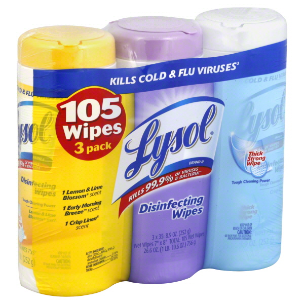 Lysol Disinfecting Cleaning Wipes, Variety Value Pack, 105 Count