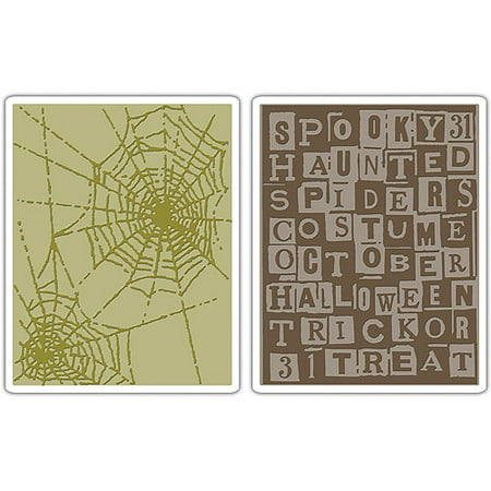 Tim Holtz Alterations Texture Fades Embossing Folders, Halloween Words & Cobwebs - Holly Halloween