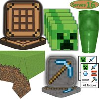 Minecraft Party Supplies for 16 - Dinner Plates, Dessert Plates, Napkins, Cups, Tablecloth, Tattoos - Pixel Mining Theme Birthday Tableware and Favors