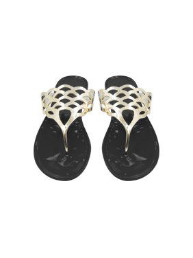 f6a4855c11f2 Product Image Sara Z Ladies Jelly Thong Sandal With Metallic Cutout Upper.  Product Variants Selector. Black Gold