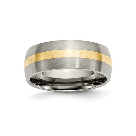 Mens 8mm Brushed Titanium and 14k Yellow Inlay Round Edge Wedding Band Ring Size 7