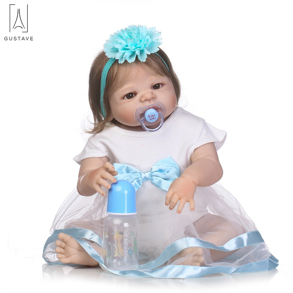 "GustaveDesign 22"" Reborn Baby Dolls Vinyl Silicone Lovely Baby Girl Doll with White & Blue Veil Xmas New Year Gift"